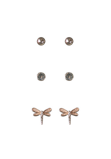 Women's Dragonfly Earring Set, ROSE GOLD, hi-res