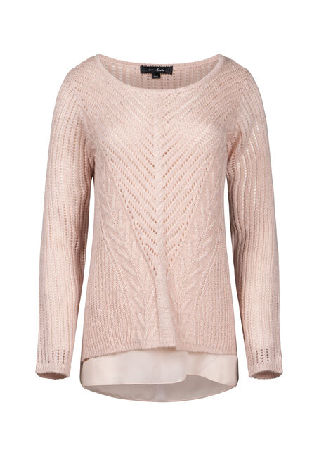 Women's Chiffon Underlay Shimmer Sweater