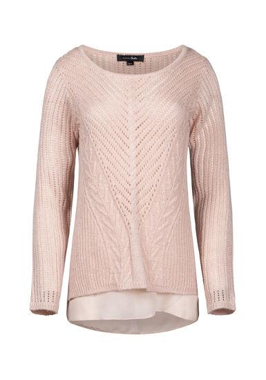 Women's Chiffon Underlay Shimmer Sweater, BLUSH, hi-res