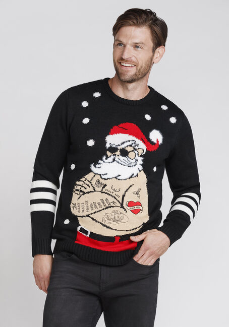 Men's Musical Santa Sweater, BLACK, hi-res