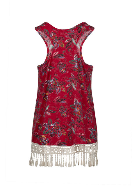 Women's Floral Crochet Trim Tank, RED SEA, hi-res