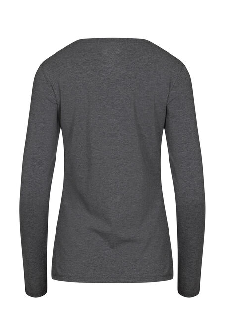 Women's Long Sleeve Tee, CHARCOAL, hi-res