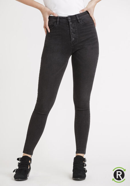 Women's REPREVE® Black High Rise Exposed Button Skinny Jeans