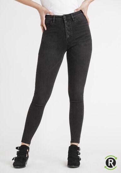 Women's REPREVE® Black High Rise Exposed Button Skinny Jeans, BLACK, hi-res