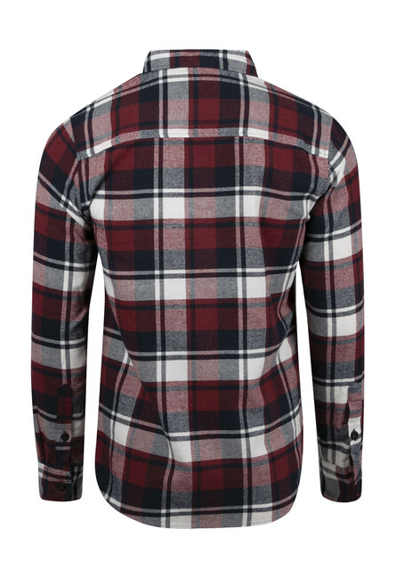 Men's Plaid Flannel Shirt, CRIMSON, hi-res