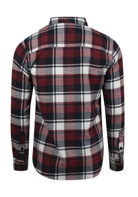 Men's Plaid Flannel Shirt, CRIMSON, hi-res