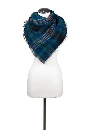 Women's Plaid Blanket Scarf, MEDIUM BLUE, hi-res