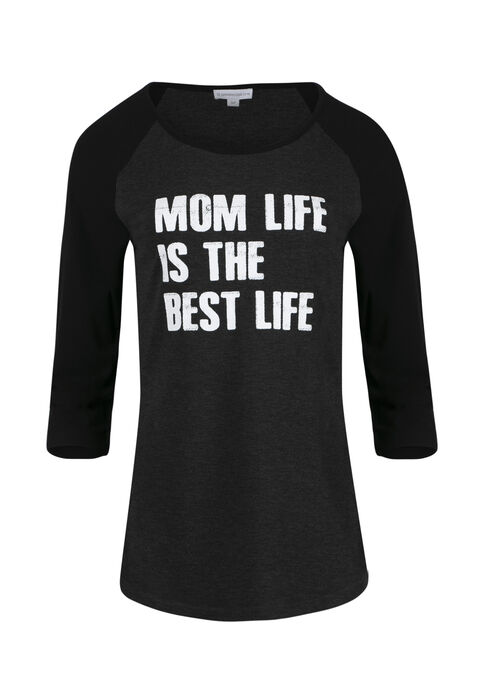 Women's Mom Life Best Life Baseball Tee, CHARCOAL/BLACK, hi-res
