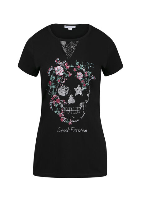 Ladies' Floral Skull Tee