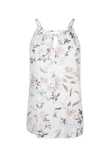 Women's Floral Halter Neck Crinkle Tank, WINTER WHITE, hi-res