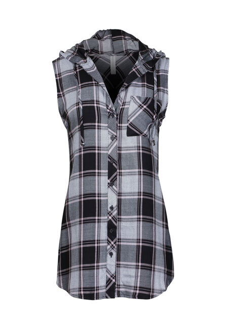 Women's Sleeveless Hooded Plaid Shirt