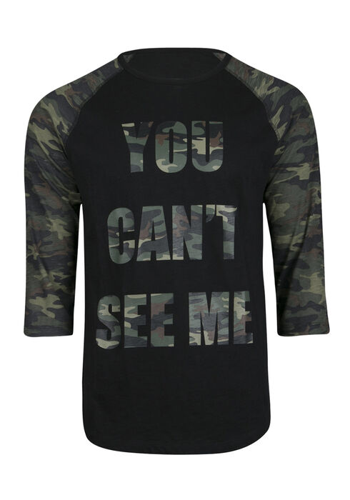 Men's Can't See Me Baseball Tee, DARK OLIVE, hi-res