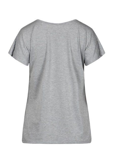 Women's Shimmer Stripe Tee, HEATHER GREY, hi-res