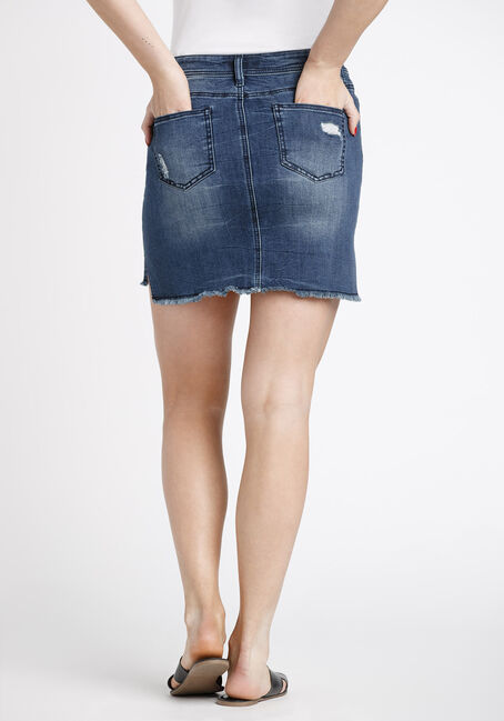 Women's Step Hem Denim Skirt, DARK WASH, hi-res