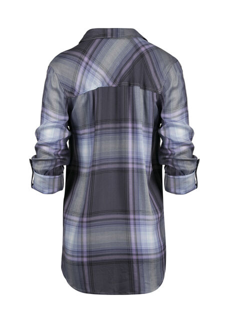 Ladies' Plaid Boyfriend Shirt, LAVENDER, hi-res