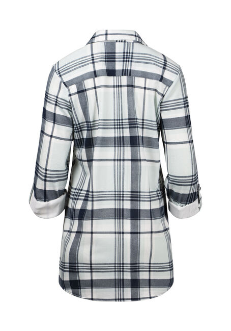 Women's Knit Plaid Tunic Shirt, SAGE, hi-res