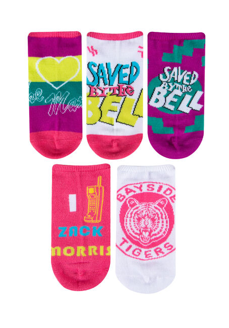 Ladies' 5 Pair Saved By The Bell Socks, BRIGHT PINK, hi-res
