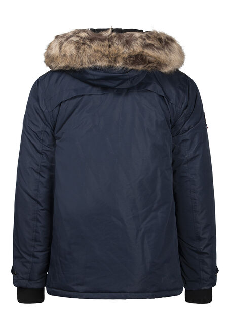 Men's Fur Trim Parka, NAVY, hi-res