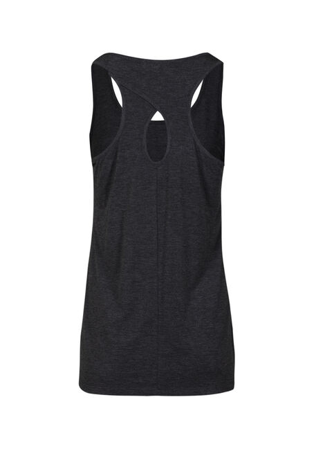 Women's Feather Heart Keyhole Tank, CHARCOAL, hi-res