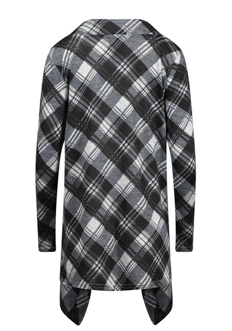 Women's Knit Plaid Wrap, BLACK, hi-res