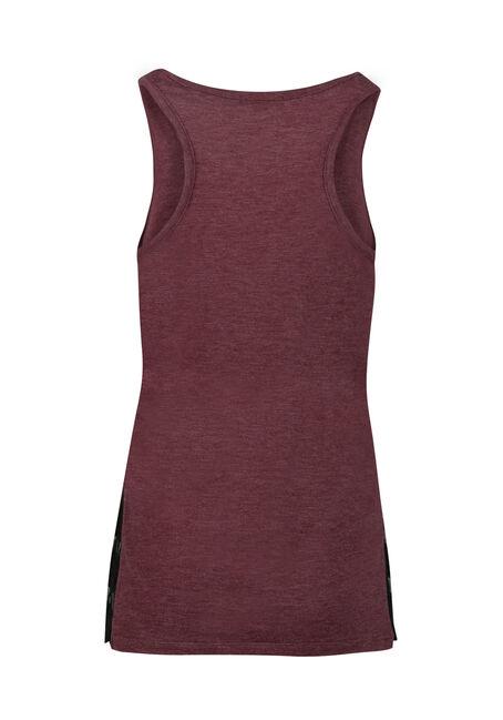 Ladies' Lace Insert Tank, WINE, hi-res