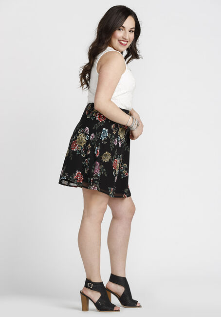Women's Lace Floral Skater Dress, WHITE, hi-res