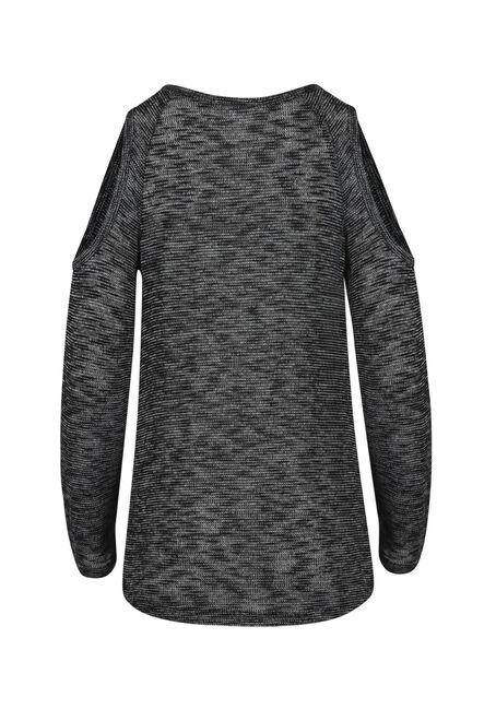 Women's Knotted Cold Shoulder Top, BLACK, hi-res