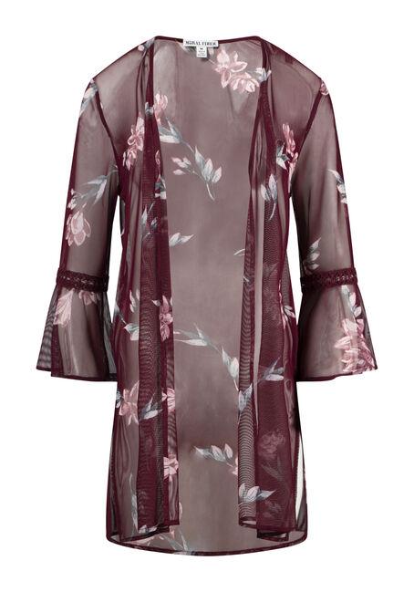 Women's Floral Mesh Bell Sleeve Kimono