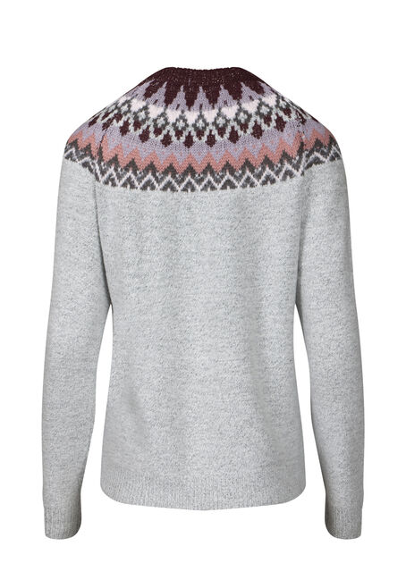 Women's Fairisle Sweater, HEATHER GREY, hi-res