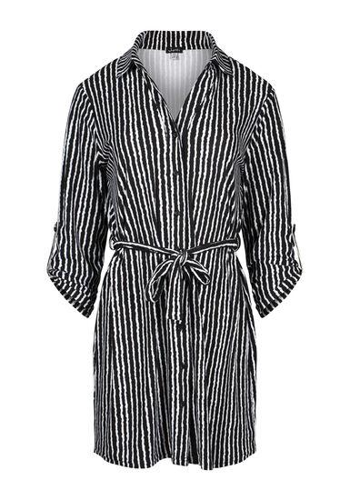 Women's Stripe Shirt Dress, BLK/WHT, hi-res