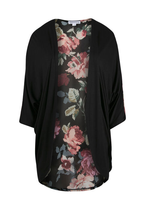 Women's Floral Print Cardigan, BLACK, hi-res