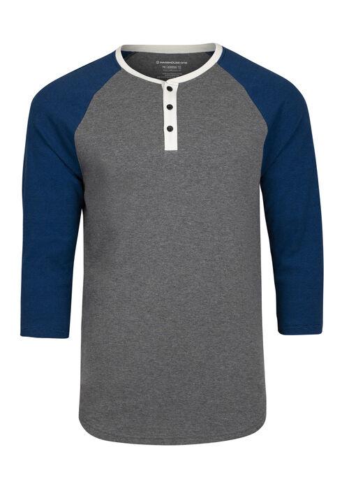 Men's Everyday Henley Baseball Tee, ROYAL BLUE, hi-res