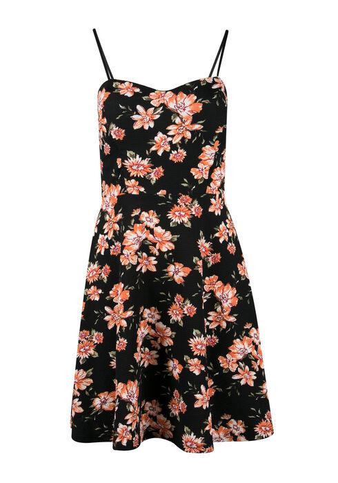 Ladies' Floral Strappy Fit & Flare Dress, CORAL BLACK, hi-res