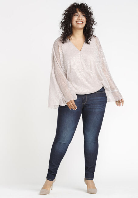 Women's Angel Sleeve Shimmer Top, BLUSH, hi-res