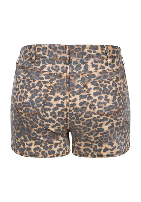 Women's Plus Size High Rise Leopard Print Short, GOLD, hi-res