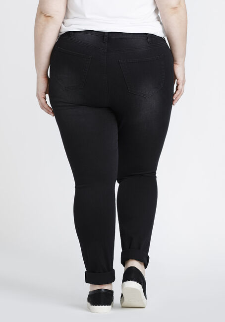 Women's Plus Size Black Ripped Skinny Jeans, BLACK, hi-res