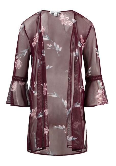 Women's Plus Size Floral Mesh Bell Sleeve Kimono