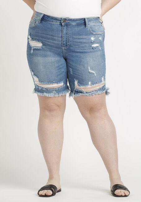 Women's Plus Destroyed Bermuda Short