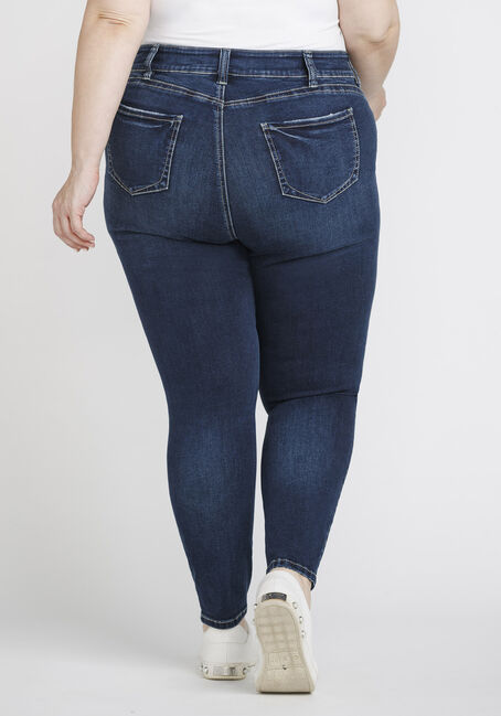 Women's Plus Size Distressed Ankle Skinny Jeans, DENIM, hi-res