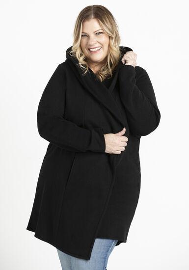Women's Hooded Fleece Cardigan, BLACK, hi-res