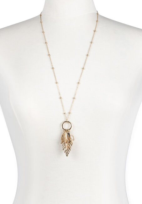 Ladies' Multi Leaf Charm Necklace