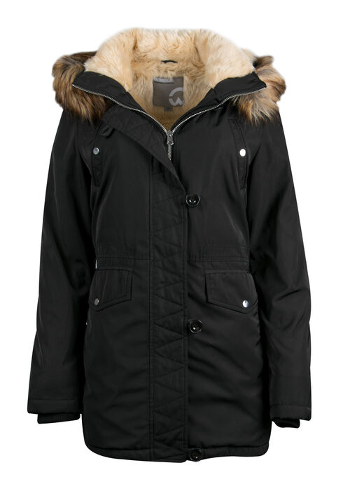 Ladies' Fur Trim Hooded Parka, BLACK, hi-res