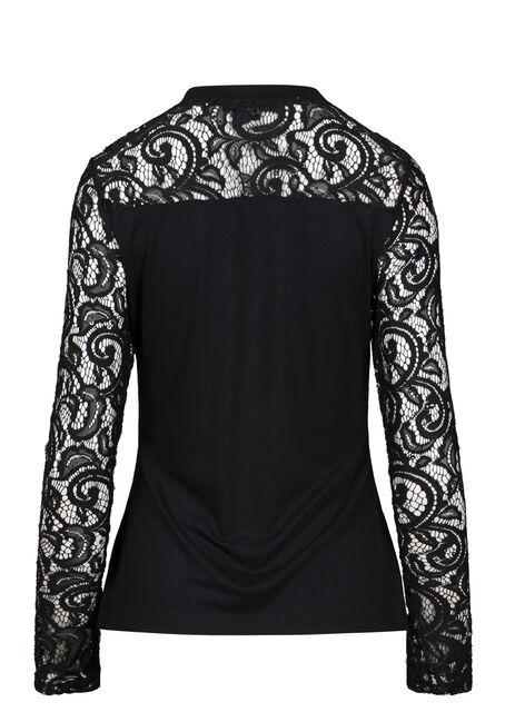 Women's Sweetheart Lace Top, BLACK, hi-res