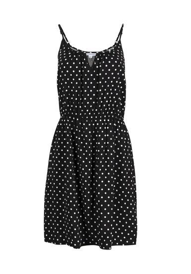 Women's Polka Dot Keyhole Dress, BLK/WHT, hi-res