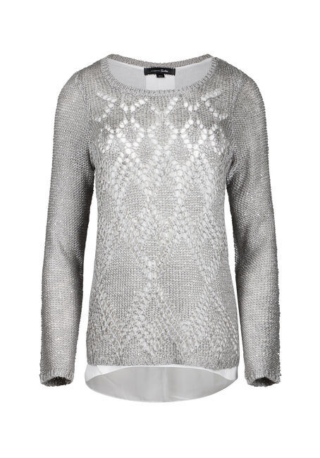 Women's Chiffon Back Shimmer Sweater