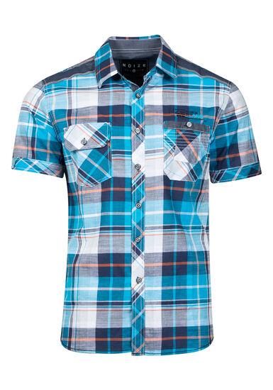 Men's Plaid Shirt, TURQUOISE, hi-res
