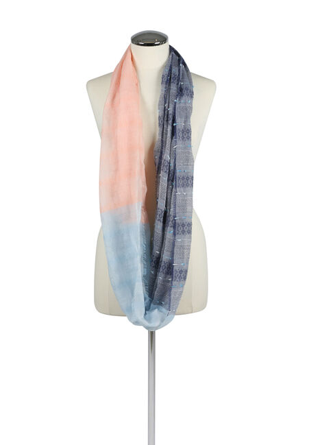Women's Textured Infinity Scarf, PALE BLUE, hi-res