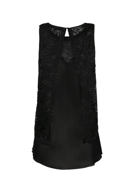 Ladies' Layered Lace Tank, BLACK, hi-res