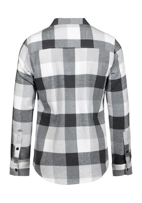 Men's Plaid Flannel Shirt, GREY, hi-res