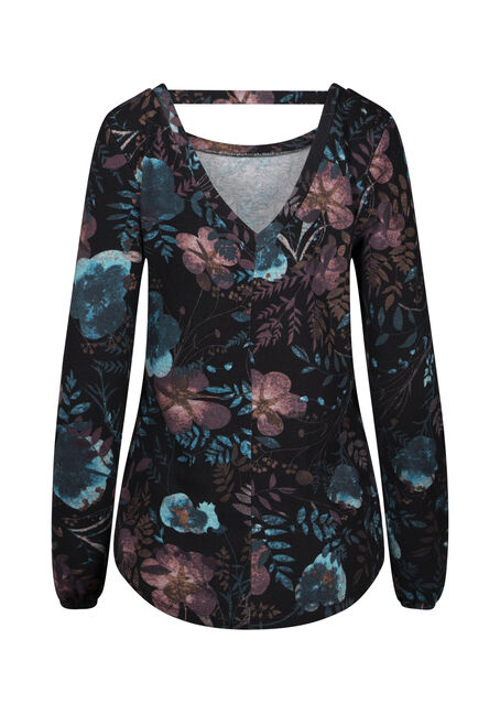 Women's Dark Floral V-Back Top, BLACK, hi-res